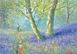 Bluebell Man and Dog by James Preston - Original Painting on Stretched Canvas sized 23x17 inches. Available from Whitewall Galleries